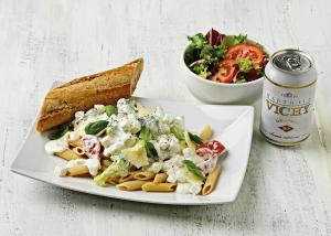 Tuesday: Penne pasta with goat cheese and broccoli